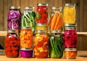 Jars of produce