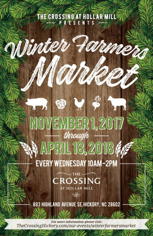 Flyer with wreath border that says winter farmers market November 1st through April 18th
