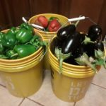 buckets of eggplant and red and green peppers