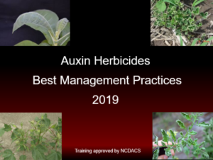 The 2019 Auxin Herbicides-Best Management Practices training was recently recorded. Contact you local Extension agent for more details. Read more at: https://cotton.ces.ncsu.edu/2019/03/auxin-stewardship-video-now-available-at-county-extension-offices/