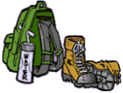 Drawing of backpack and boots